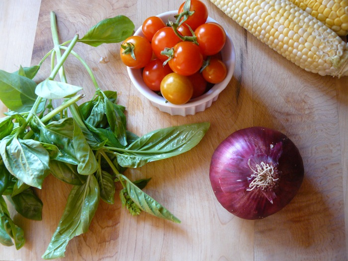 Tomatoes, basil, corn and red onion
