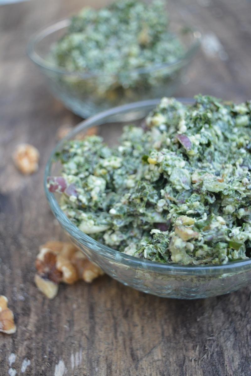 Creamy Kale, Hemp & Walnut Salad - vert