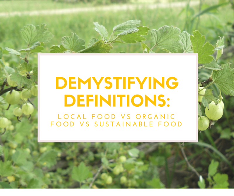 Definitions of local organic and sustainable food sm