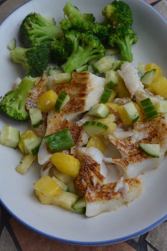 California Fish Tacos with Cucumber and Pineapple