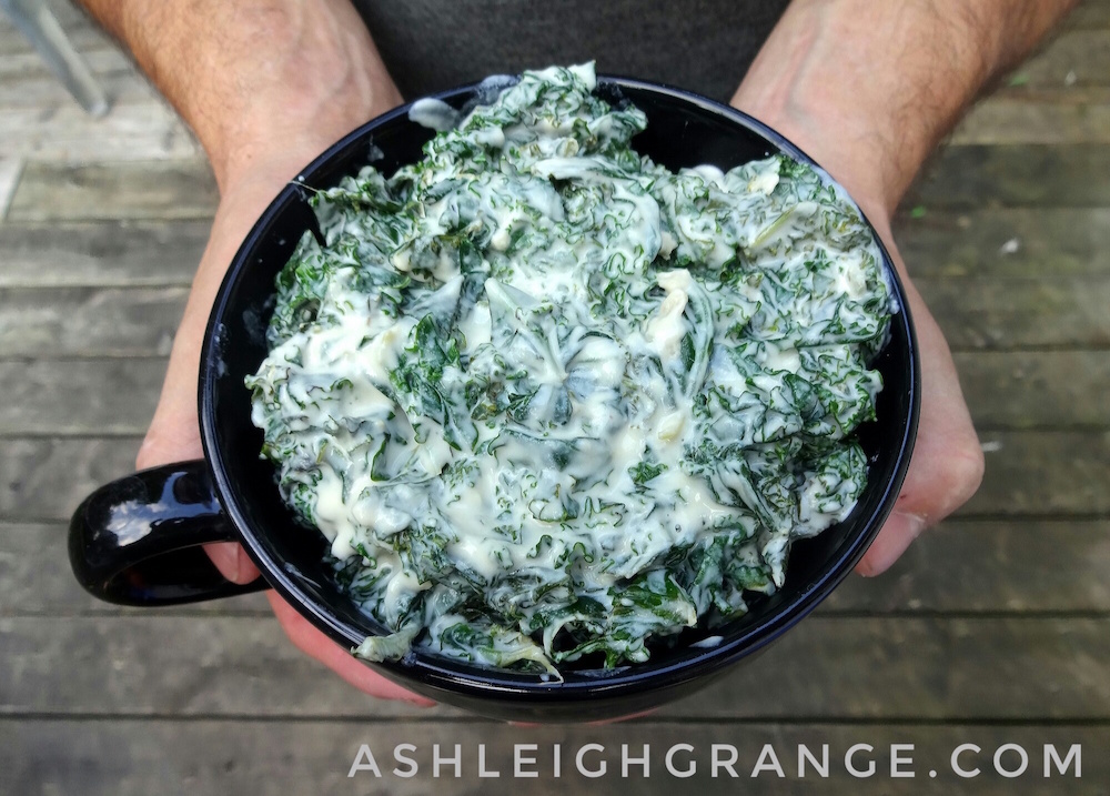 Creamed Greens with Lemon-Ginger Cashew Cream Sauce (dairy-free)